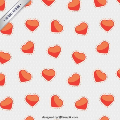 Cute Heart and Dots Pattern Free Vector