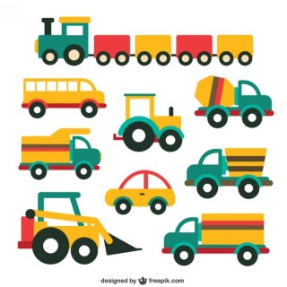 Cute Vehicle Collection Free Vector