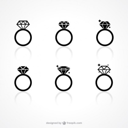 Diamond Ring Icons Free Vector