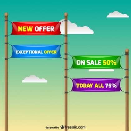 Discount Annoncement Signs Free Vector