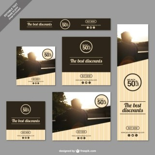 Discounts Banners in Modern Style Free Vector