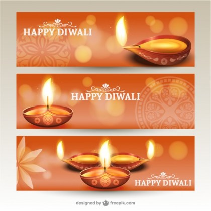 Diwali Banners Pack Free Vector