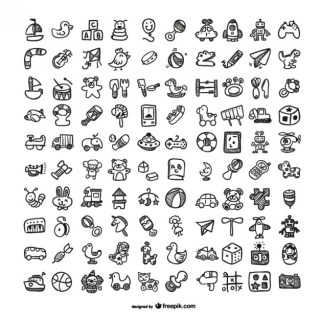 Doodle Toys Icons Free Vector