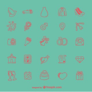Doodle Wedding Icons Free Vector