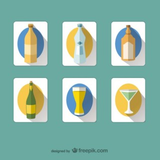 Drinks and Bottles Icons Free Vector