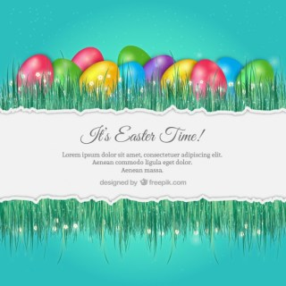 Easter Background with Colorful Eggs Free Vector