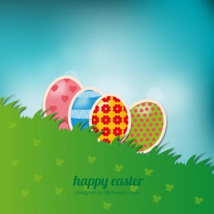 Easter Background with Eggs in Grass Free Vector