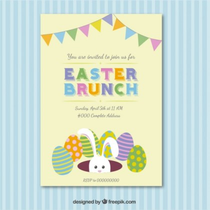 Easter Brunch Invitation Card Free Vector