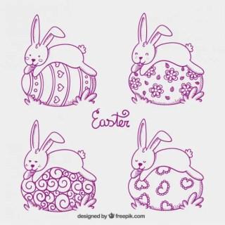 Easter Bunnies Sleeping on Easter Eggs Free Vector