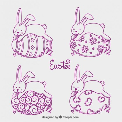 Easter Bunnies Sleeping on Easter Eggs Free Vector