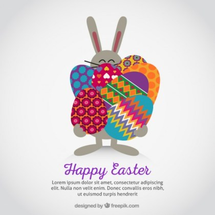 Easter Bunny Carrying Eggs Free Vector