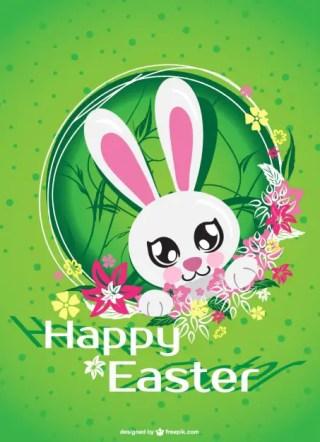 Easter Bunny Cartoon Card Free Vector