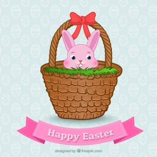 Easter Bunny on a Basket Free Vector