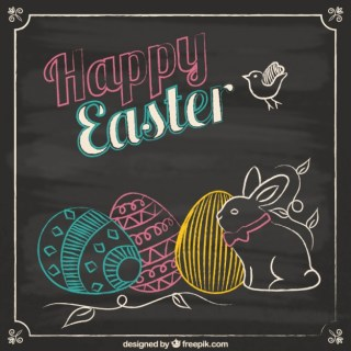 Easter Card in Blackboard Style Free Vector