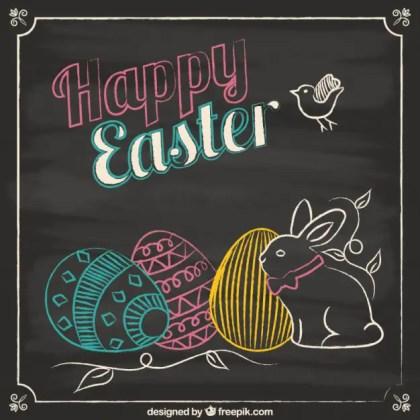 Easter Card in Blackboard Style Free Vector