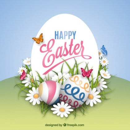 Easter Card in Spring Style Free Vector