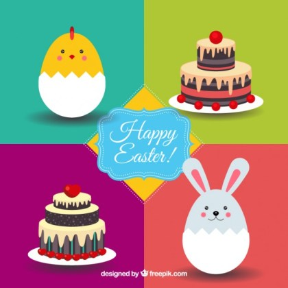 Easter Card with Animals and Cakes Free Vector