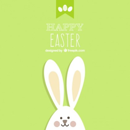Easter Card with Bunny Free Vector