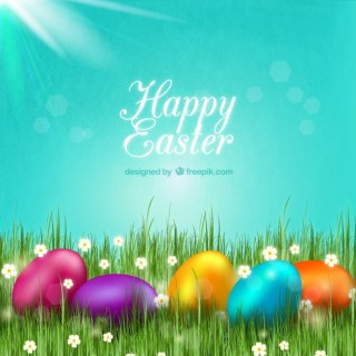 Easter Card with Colorful Eggs Free Vector