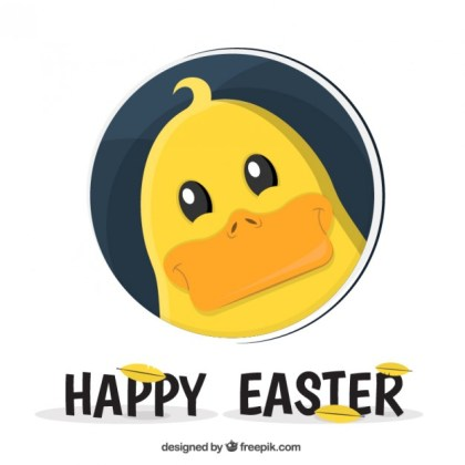 Easter Card with Cute Duck Free Vector