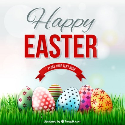 Easter Card with Decorated Eggs on The Grass Free Vector