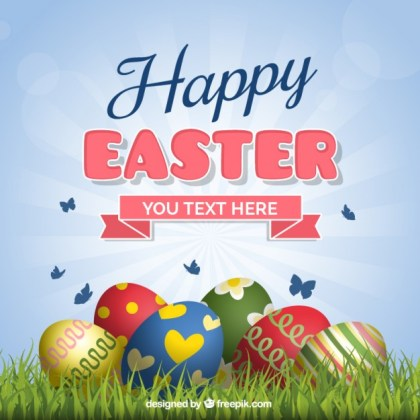 Easter Card with Eggs on The Grass Free Vector