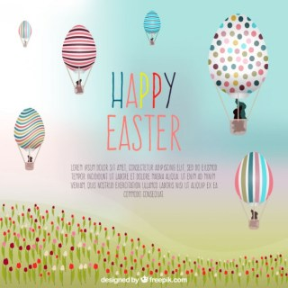 Easter Card with Hot Air Ballons Free Vector