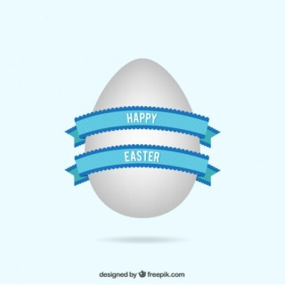Easter Egg with Blue Ribbon Free Vector