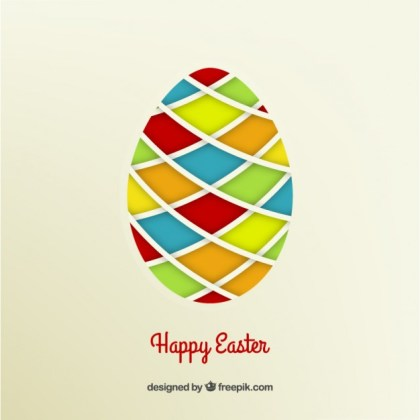Easter Egg with Colorful Rhombus Free Vector