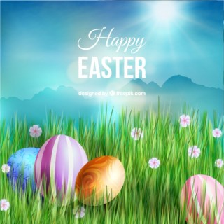 Easter Eggs in The Green Grass Free Vector