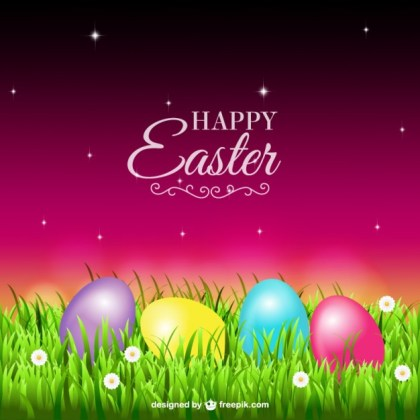 Easter Eggs on The Grass Free Vector