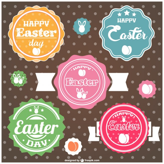 Easter Labels Design Free Vector