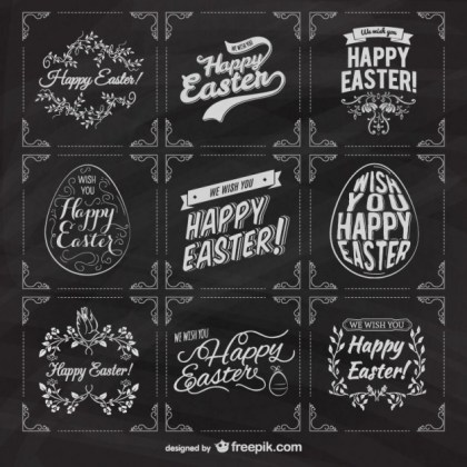 Easter Labels on Blackboard Free Vector
