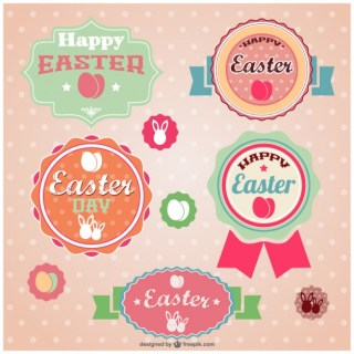Easter Retro Stickers Free Vector
