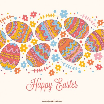 Easter Seamless Card Design Free Vector