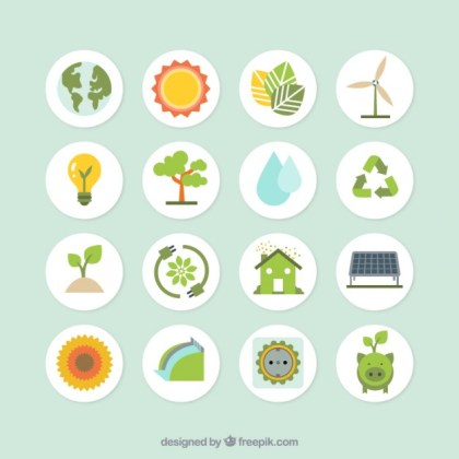 Ecology Icons Collection Free Vector