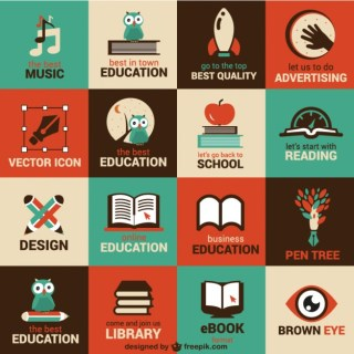 Education and Science Flat Symbols Free Vector