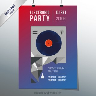 Electro Techno Party Flyer Free Vector