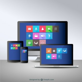 Electronic Devices Responsive Design Concept Free Vector