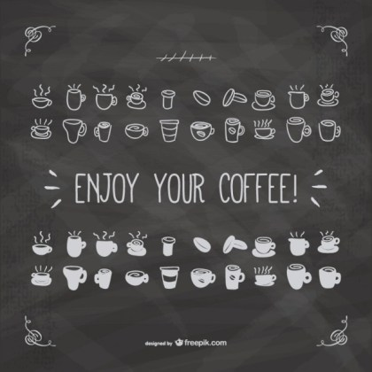 Enjoy Your Coffee with Blackboard Texture Free Vector