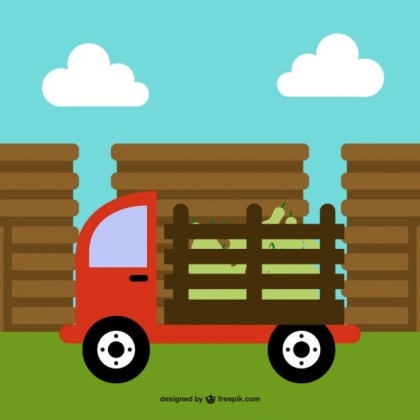 Farm Truck Cartoon Free Vector