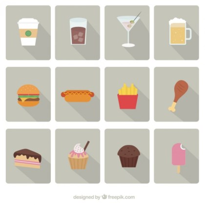 Fast Food Icons Free Vector