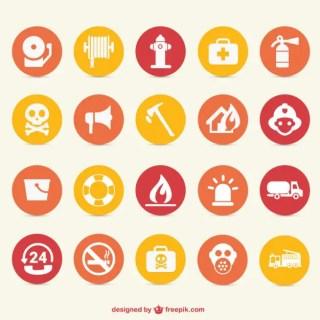 Fire Hazard Icons Free Vector
