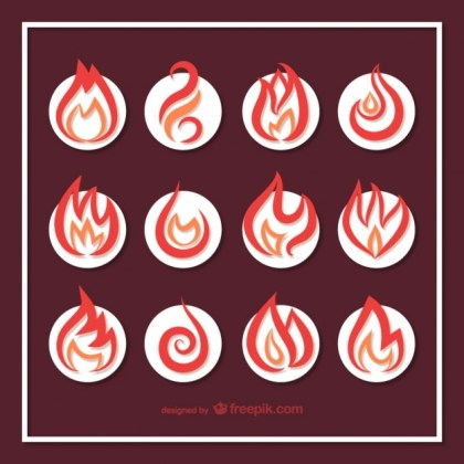 Fire Icons Collection Free Vector