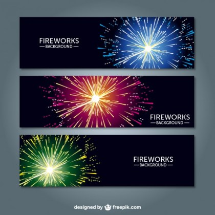 Fireworks Banners Free Vector