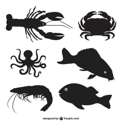 Fish and Shellfish Silhouettes Free Vector