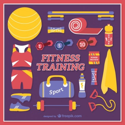 Fitness Training Elements Free Vector