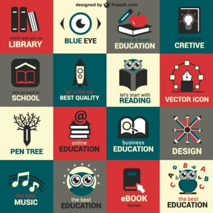 Flat Education Symbols Free Vector