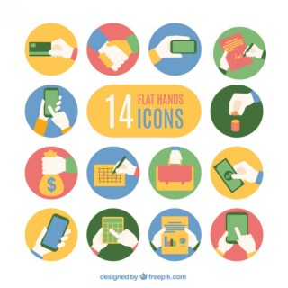 Flat Hands Icons Collection Free Vector