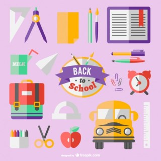 Flat Icons Back to School Concept Free Vector